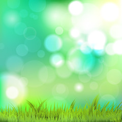 Nature background with grass and bokeh. Vector file.