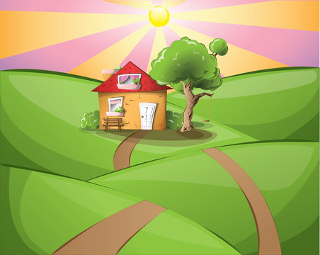 Sunset landscape with a cosy house