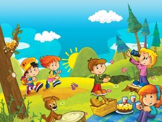 Photo sur Plexiglas Dinosaurs Picnic in the woods - illustration for the children