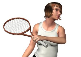GIRL PLAY TENNIS - 3D