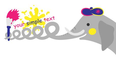 elephant who writes words a brush