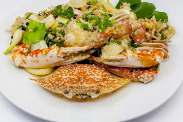 Fried crab with black pepper.