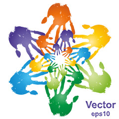 Vector hand print circle
