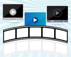 media player set with cinema film strips