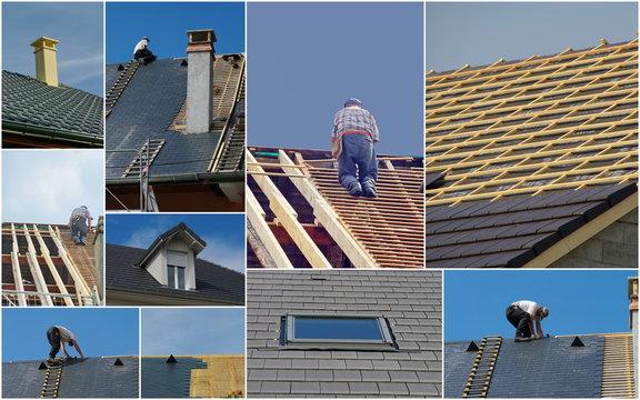 charpentier sur un toit en réfection