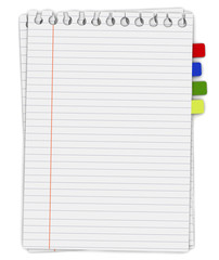 Lined paper and reminder note, 3d