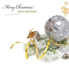Christmas background with silver and gold decoration