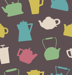 Pattern with different teapots. Kettles background.