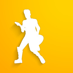 White silhouette of a boy with guitar on yellow background.