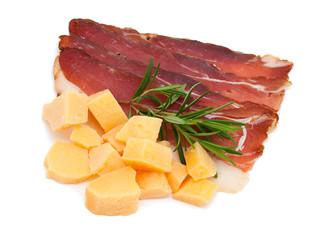 cured ham isolated on white background