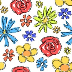 Flowers background - vector illustration