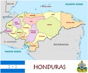 Honduras America emblem map symbol administrative divisions