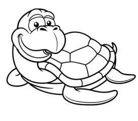 Vector illustration of Cartoon turtle - Coloring book