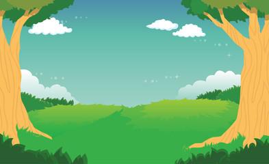 Green Forest Landscape Background Vector