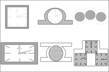 Several shapes and sizes of table pin clock
