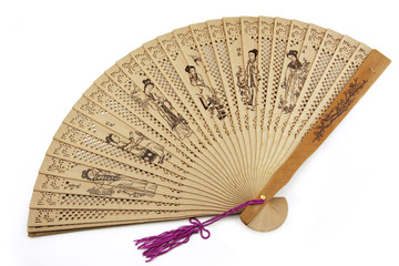 Wooden folding fan isolated on white background