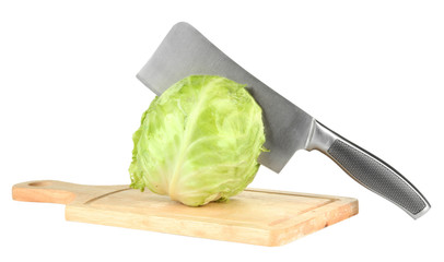 Green cabbage with knife on cutting board, isolated on white
