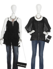 Two female clothing in jeans with bag on mannequin isolated