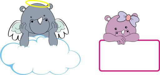 rhino kid girl angel copy space cloud set