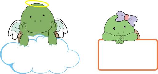 turtle kid girl angel copy space cloud set