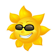 cartoon sun in sunglasses