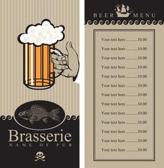 beer menu with sailboat and a fish