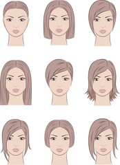 Vector illustration of women's faces