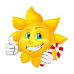 cartoon sun with lollipop