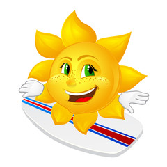 cartoon sun with freckles on surfboard