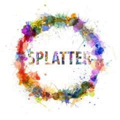 Splatter concept, watercolor splashes as a sign