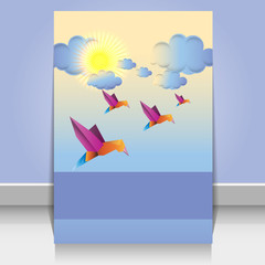Origami birds and clouds vector design background