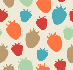 Seamless berries pattern. Childish floral texture