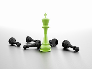 Chess figure rendered green