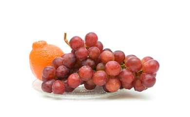 grape and tangerine on a white background