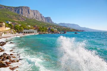 Big wave on the beach. The village Foros, Crimea, Ukraine