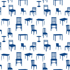 Seamless chairs and tables pattern