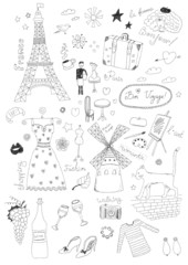 Self adhesive Wall Murals Doodle French Set