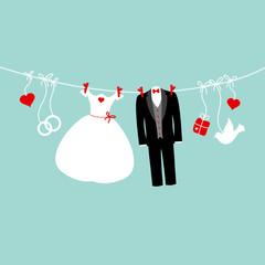 Wedding Symbols Hanging Retro Background