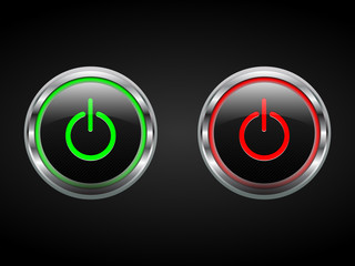 Power buttons, green and red, turn on/off symbols, vector
