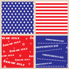 Set of seamless textures with USA Independence Day