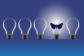 Light bulbs and a butterfly