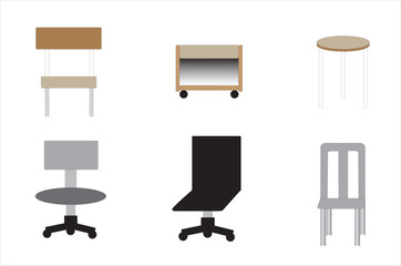 Several shapes and sizes of chair