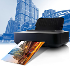 Printer and picture with colorful in the city