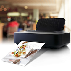 Printer and picture with menu in a restaurant