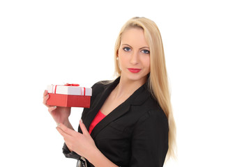 beautiful girl with a gift box in hand
