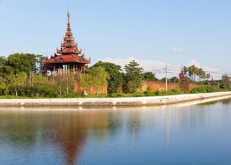 bastion at of the wall surrounding Mandalay Palace