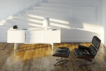 White Minimalistic Room With Black Lounge Chair