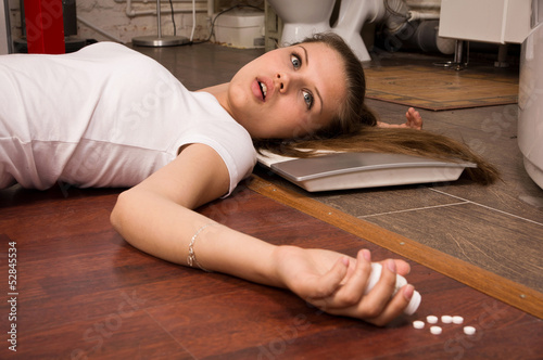 Crime Scene Simulation Overdosed Girl Lying On The Floor Stock Photo And Royalty Free Images