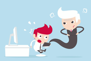 Internet Addiction employee and angry boss