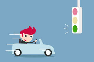 businessman driving with Green traffic light , vector